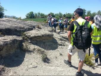 Un grup d'estudiants de Geologia de la UAB visitant la zona Foto:JOAN POCH