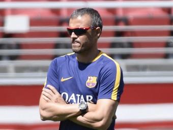 Luis Enrique, en un entrenament de la gira. Foto:EFE