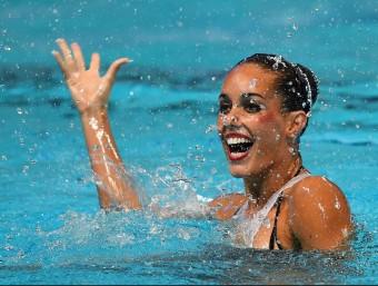 Ona Carbonell, exhibint-se al Kazan Arena ahir a l'exercici de solo lliure, a la final del mundial Foto:EFE