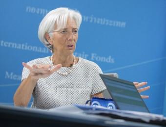 La màxima responsable de l'FMI, Christine Lagarde. en un acte amb la premsa, ahir Foto:STEPHEN JAFFE / EFE