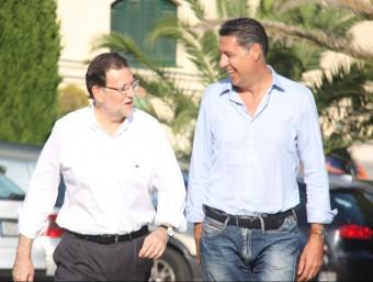 Xavier García Albiol i Mariano Rajoy, arribant a l'Hotel Jaime I de Castelldefels Foto:ACN