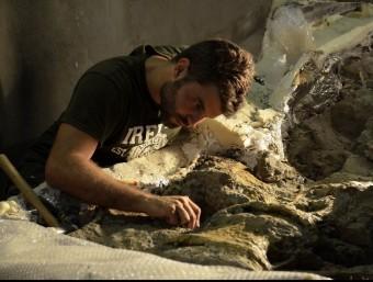 Un paleontòleg netejant un fòssil de dinosaure.  Foto:ACN