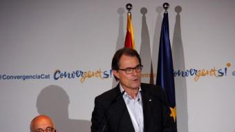 Artur Mas, ahir al vespre, durant la intervenció en el consell nacional que CDC va fer a Bellaterra Foto:ACN