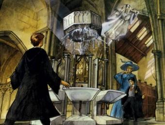 Il·lustració de l'escena en què Harry, Ron i el professor Lockart observen com a la pica del lavabo es veu l'entrada a la Cambra dels secrets. Foto:NORMA EDITORIAL