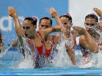 L'equip espanyol interpretant l'exercici lliure ahir a Kazan Foto:EFE
