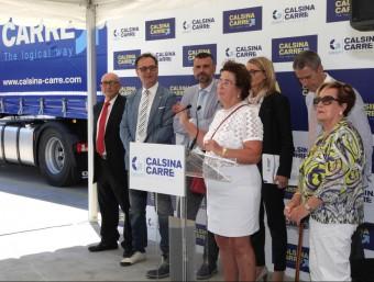 Marina Cristina Calsina, el conseller Santi Vila i l'alcalde de Pont de Molins, Josep Fonts, durant els parlaments. Foto:JOAN SABATER
