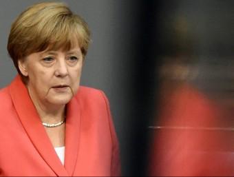 Angela Merkel, cancellera alemanya, durant la intervenció que va fer el juliol passat en una sessió extraordinària del Bundestag Foto:TOBIAS SCHWARZ / AFP