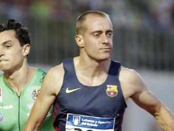 El velocista blaugrana Ángel David Rodríguez va guanyar els 100 m Foto:EFE / DOMENECH CASTELLÓ