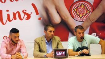Pol Llonch, Delfí Geli i Quique Cárcel, en la presentació del jugador Foto:JOAN CASTRO / ICONNA