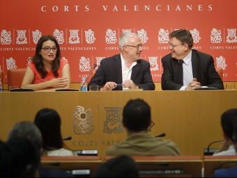 """Representants polítics de les formacions del """"Pacte del Botànic"""". Foto:JOSÉ CUÉLLAR"""