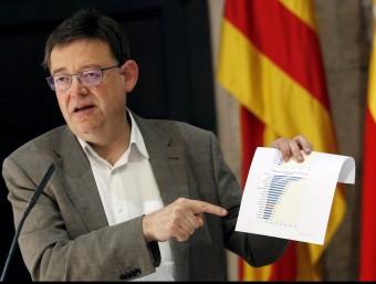 El president Puig en la compareixença al Palau de la Generalitat Valenciana. Foto:EFE