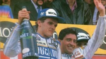 Joan Garriga i Sito Pons, en un podi del 1988 Foto:ARXIU