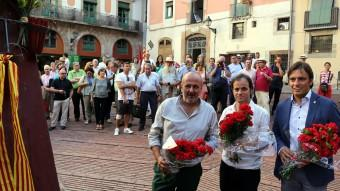 L'ofrena floral ahir del Consell de Mallorca i l'Ajuntament de Barcelona al Fossar de les Moreres Foto:J.RAMOS