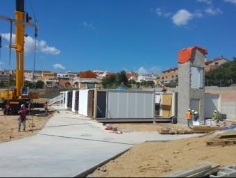 Les obres de construcció del segon institut de Tordera , que ha de començar al setembre, avancen. Foto:T.M