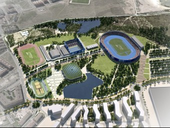 Imatge virtual del projecte inicial de l'Anella Mediterrània de Camclar, que serà l'epicentre dels Jocs Foto:EL PUNT AVUI