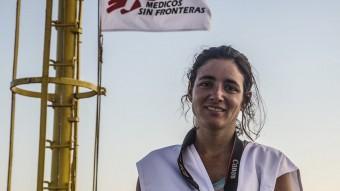 Anna Surinyach a bord del vaixell Dignity, que patrulla entre el sud d'Itàlia i la costa de Líbia. Foto:SAMIR SAYYAD/MSF