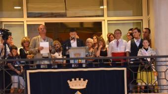 Jordi Sargatal, en el moment  en què  pronunciava el pregó de la festa major de L'Escala Foto:R.C
