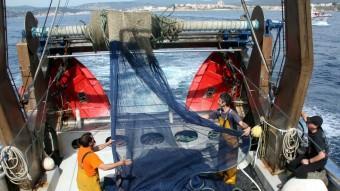 Diversos pescadors treballen en una embarcació durant la temporada. Foto:ACN