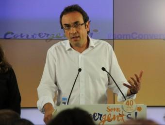 El coordinador general de CDC, Josep Rull, en roda de premsa a la seu nacional del partit Foto:ACN