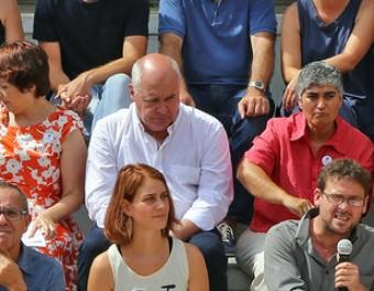 Els candidats que ahir van presentar el programa de la candidatura, amb Lluís Rabell assegut al centre Foto:JUANMA RAMOS