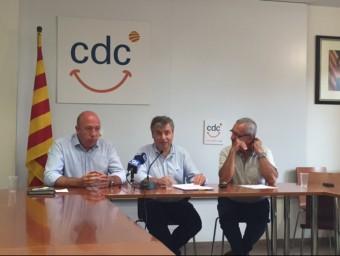 Bagué, Xuclà i Pàramo, en un momento de la roda de prensa d'ahir Foto:el punt avui