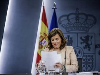 Soraya Sáenz de Santamaría ahir en la compareixença posterior al Consell de Ministres Foto:EFE