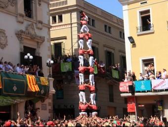 La Vella dels Xiquets de Valls ha aconseguit desmuntar l'espectacular 4 de 9 net a la tercera ronda, aquest diumenge a Vilafranca Foto:ACN