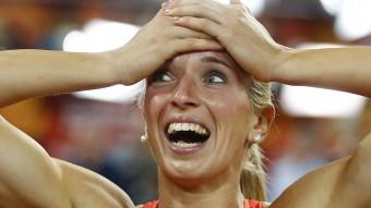 Cindy Roleder , plata en els 100 m tanques. Foto:AFP
