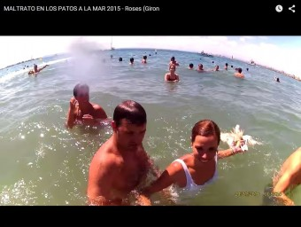 Imatge agafada del polèmic vídeo en què una noia usa un ànec com a arma Foto:EPA