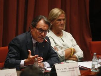 El president de la Generalitat, Artur Mas, i la presidenta del Parlament, Núria de Gispert, aquest dimecres a la Diputació Permanent Foto:ORIOL DURAN