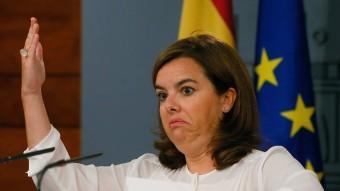 La vicepresidenta espanyola, Soraya Sáenz de Santamaría, aquest dimecres a la Moncloa Foto:EFE