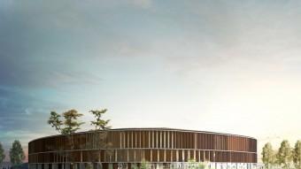 Recreació virtual del palau d'Esports que s'ha de construir a Campclar, en el que serà l'Anella Mediterrània de Tarragona Foto:EL PUNT AVUI