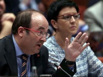 El líder del PSC, Miquel Iceta, aquest dimecres al Parlament Foto:EFE