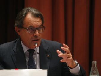 El president de la Generalitat, Artur Mas, durant la compareixença d'aquest dimecres al Parlament Foto:ORIOL DURAN