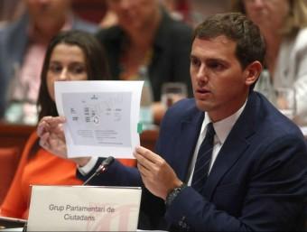 El líder de Cs, Albert Rivera, mostra un retall de premsa durant la sessió de la Diputació Permanent d'aquest dimecres Foto:EFEO