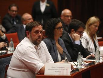 Oriol Junqueras, aquest dimecres durant la compareixença d'Artur Mas a la Diputació Permanent del Parlament Foto:ORIOL DURAN