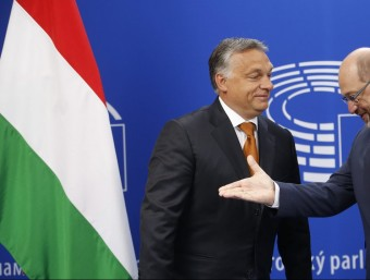 El primer ministre Hongarès, Viktor Orban, amb el president del Parlament Europeu, Martin Schulz Foto:EFE