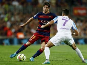 Sergi Roberto en el partit contra el Màlaga al Camp Nou Foto:EFE