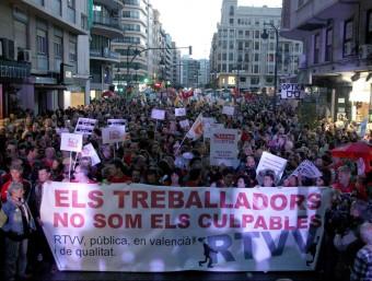 Manifestació en contra del tancament de RTVV. Foto:ARXIU