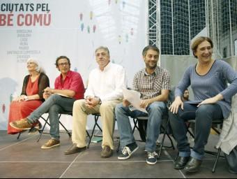 Dolors Sabater, José Manuel González, Joseba Asirón, Pedro Santisteve, Xulio Ferreiro i Ada Colau en l'acte d'ahir Foto:EFE