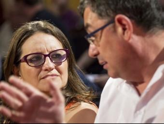 El líder del Bloc, Enric Morera i la dirigent d'Iniciativa, Mónica Oltra. Foto:AGÈNCIES