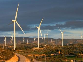 Vista del parc eòlic de la Granadella, a la comarca de Les Garrigues.  Foto:ARXIU