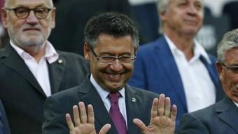 El president del Barça Josep Maria Bartomeu a la llotja del Camp Nou. Foto:EFE