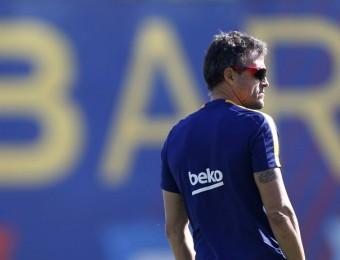 Luis Enrique, seriós i pensatiu, durant un entrenament d'aquesta temporada, a la ciutat esportiva Joan Gamper Foto:FC BARCELONA