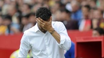 Luis Enrique durant el partit que el Barça va jugar dissabte a Sevilla. Foto:AFP