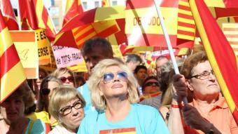 Un moment de la concentració organitzada per SCC, el passat 12 d'octubre a la plaça Catalunya de Barcelona Foto:ANDREU PUIG