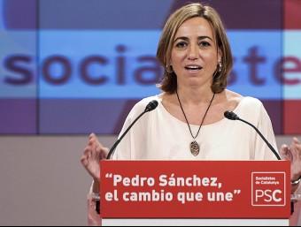 Carme Chacón , en la seva intervenció a l'obertura de precampanya de divendres.  Foto:JOSEP LOSADA
