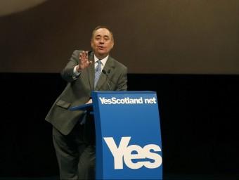 Alex Salmond , en una conferència de premsa internacional al setembre del 2014, pocs dies abans que se celebrés el referèndum d'independència a Escòcia. Foto:REUTERS