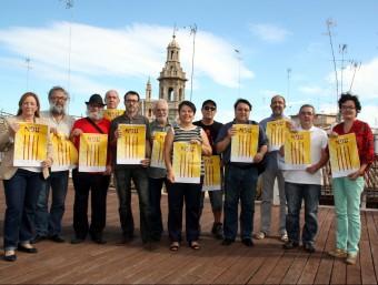 Representants de les entitats que formen part de la Comissió 9 d'Octubre. Foto:ACN