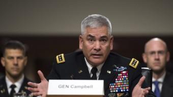 John Campbell, cap de les forces nord-americanes a l'Afganistan, aquest divendres al Senat Foto:EFE
